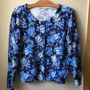 Cottagecore Cropped Button Down Floral Cardigan Sweater Blue White Medium